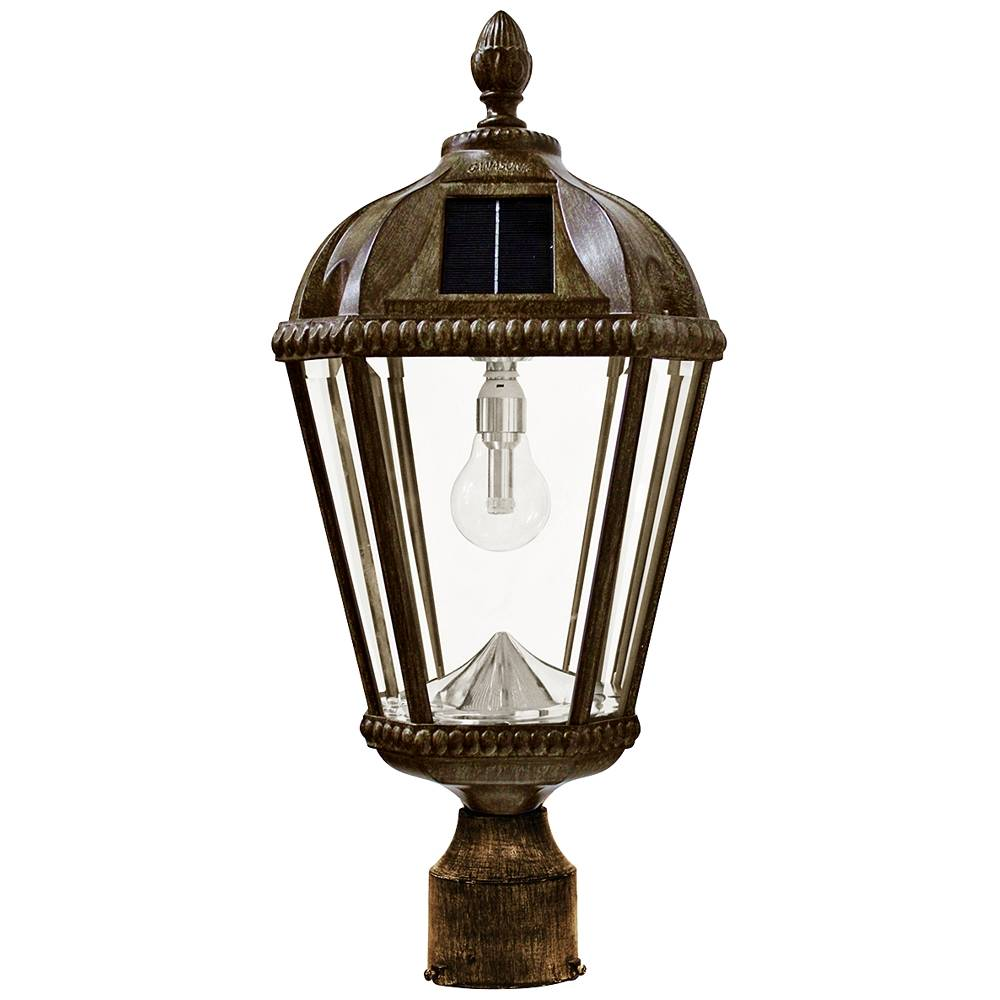 """Gama Sonic Royal Bulb 18""""H Bronze Outdoor Solar LED Post-Mount Lamp - Style # 13X19"""