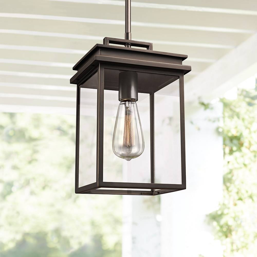 """Feiss Chappman 13"""" High Antique Bronze Outdoor Hanging Light - Style # 18Y78"""