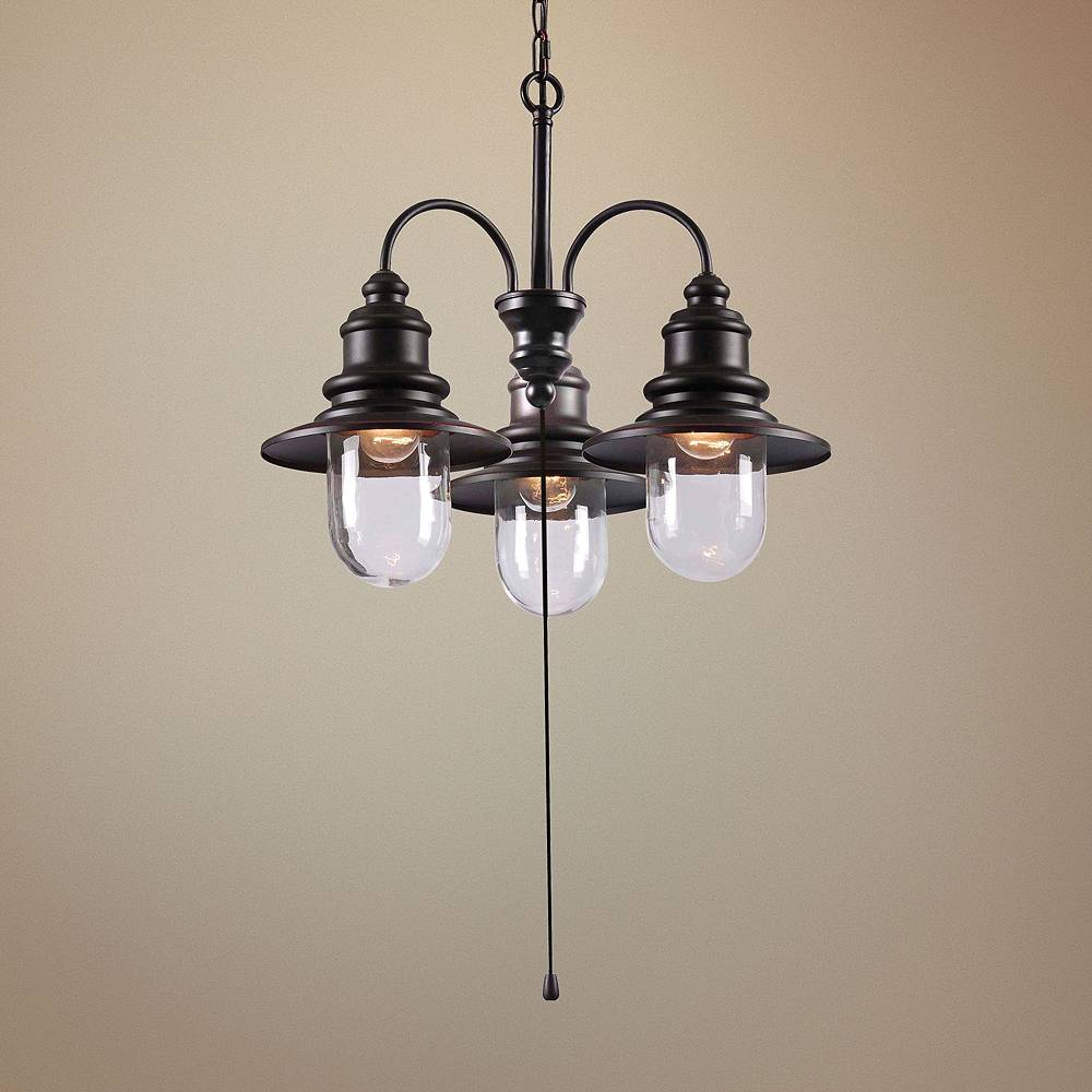 "Kenroy Home Broadcast 24"" Wide Oil Rubbed Bronze Outdoor Chandelier - Style # 1W461"
