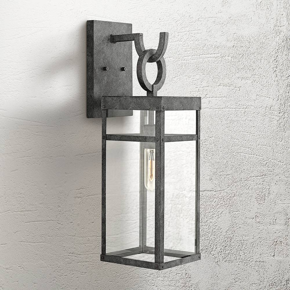 """Hinkley Porter 22"""" High Aged Zinc Outdoor Wall Light - Style # 21N12"""