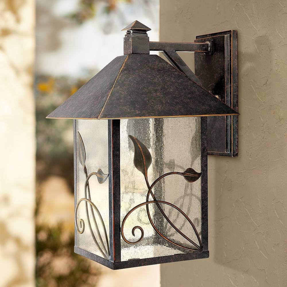 """Franklin Iron Works French Garden 15"""" High Bronze Outdoor Wall Light - Style # 70987"""