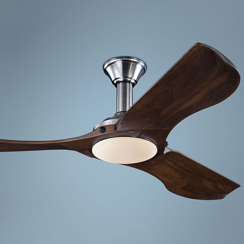 "Monte Carlo 56"" Minimalist Brushed Steel LED Damp DC Ceiling Fan - Style # 61X87"