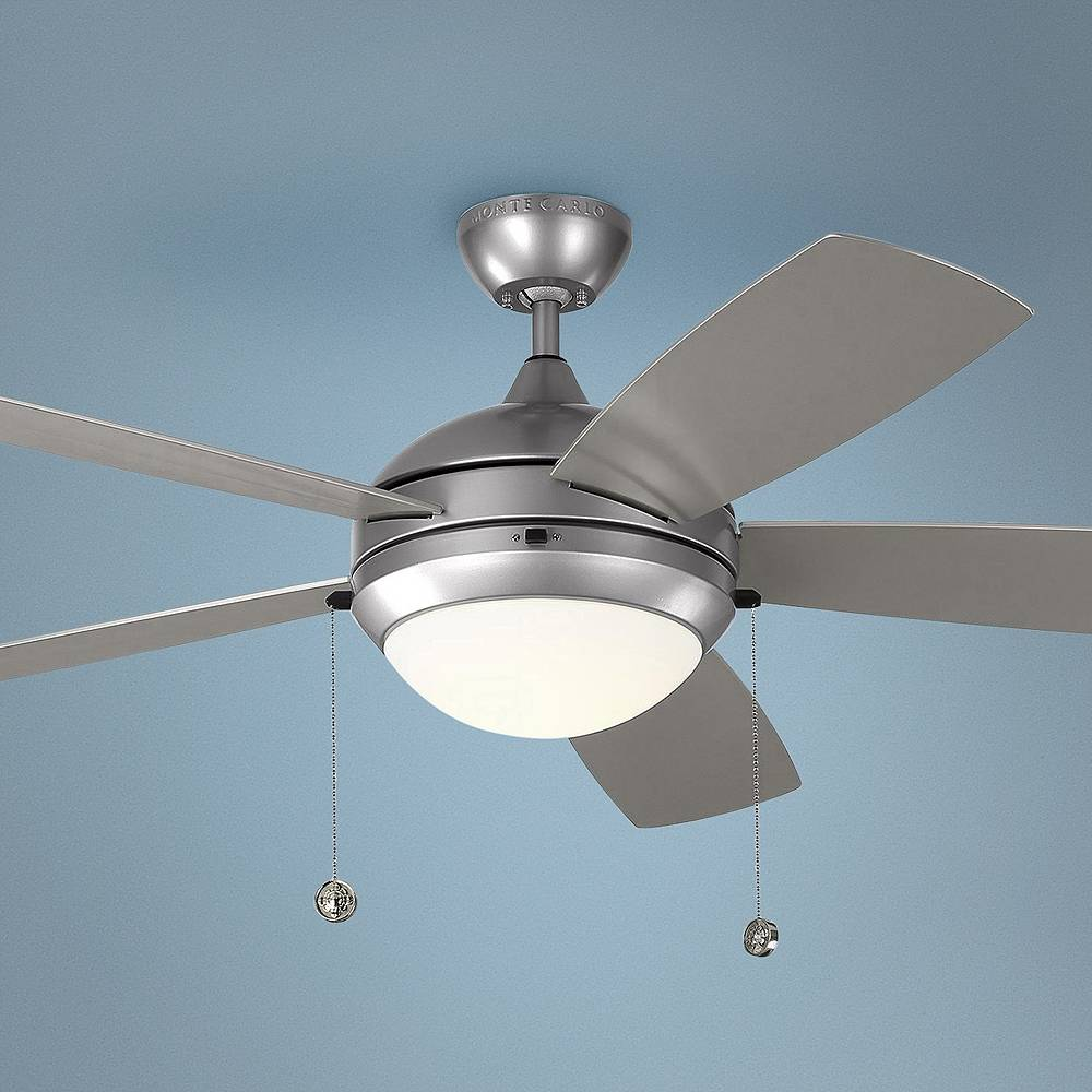 """Monte Carlo 52"""" Monte Carlo Discus Brushed Steel LED Outdoor Ceiling Fan - Style # 71E03"""
