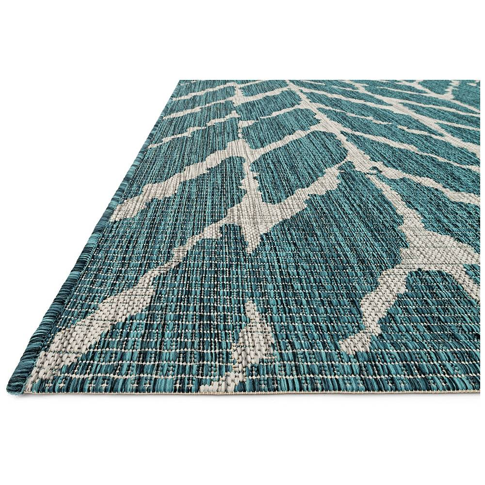 """Loloi Isle IE-02 2'2""""x3'9"""" Teal and Gray Outdoor Area Rug - Style # 21K44"""
