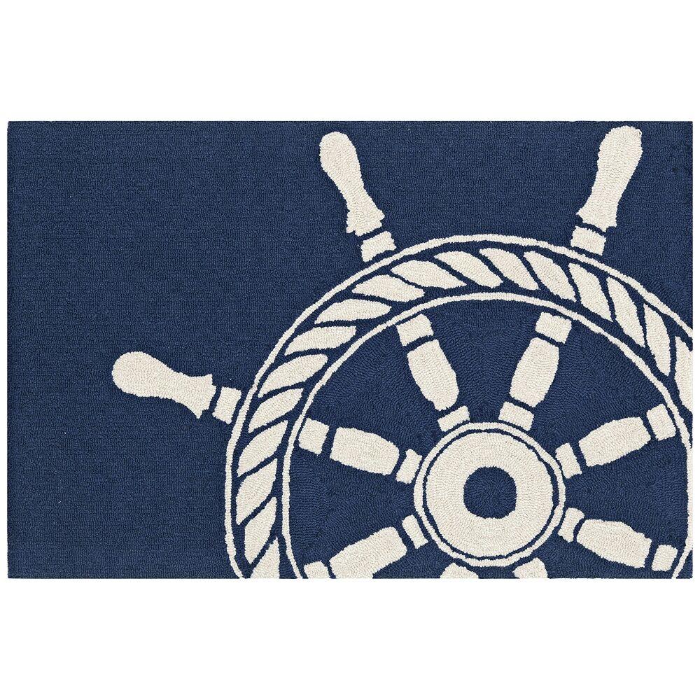 "Trans-Ocean Frontporch Ship Wheel 145633 3'6""x5'6"" Navy Outdoor Rug - Style # 22N01"