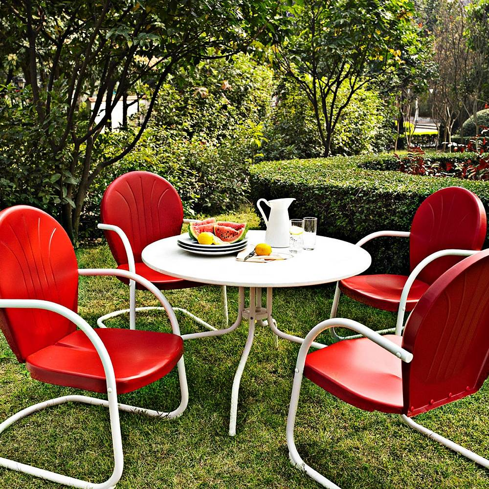 Crosley Griffith Nostalgic Red 5-Piece Outdoor Dining Set - Style # 7J748