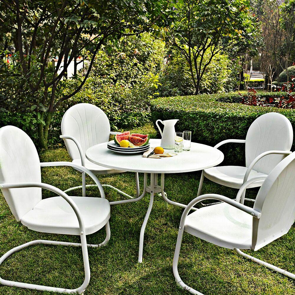 Crosley Griffith Nostalgic White 5-Piece Outdoor Patio Dining Set - Style # 7J749