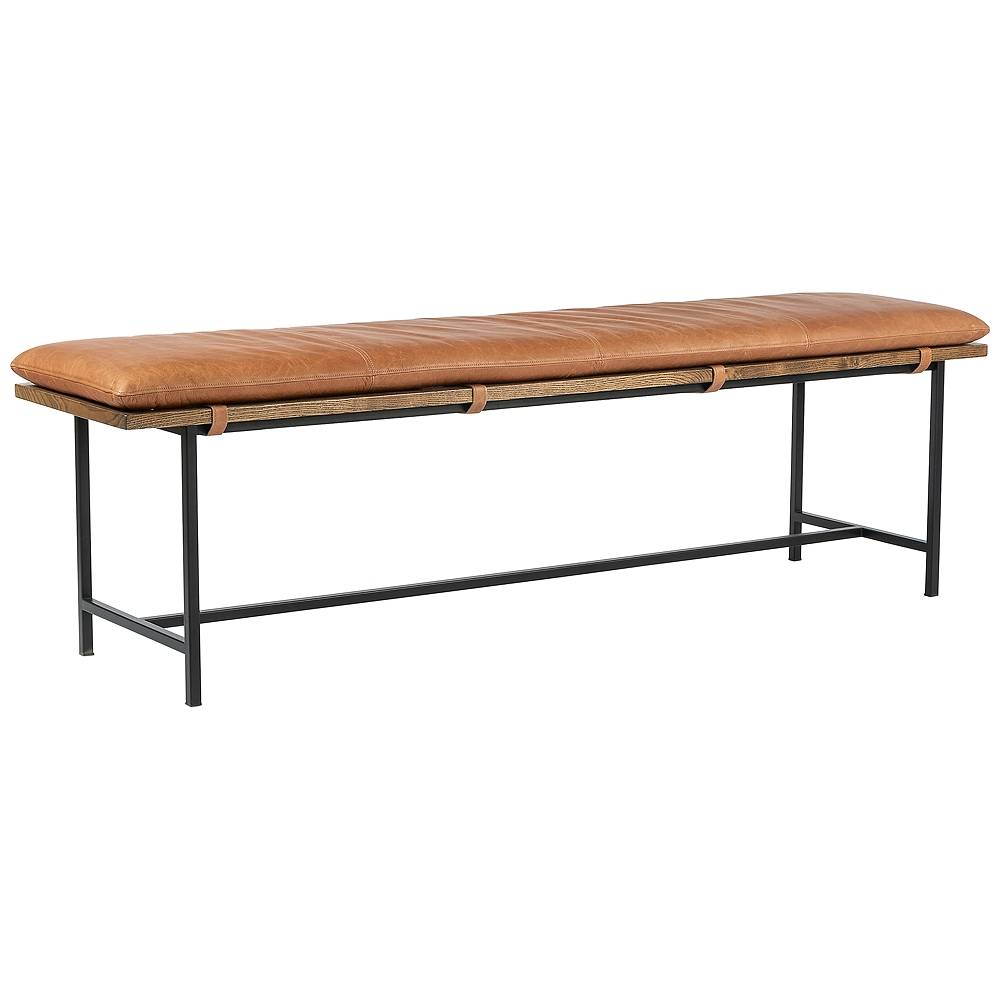 Universal Lighting and Decor Gabine Transitional Brandy Leather and Nettlewood Dining Bench - Style # 97N52