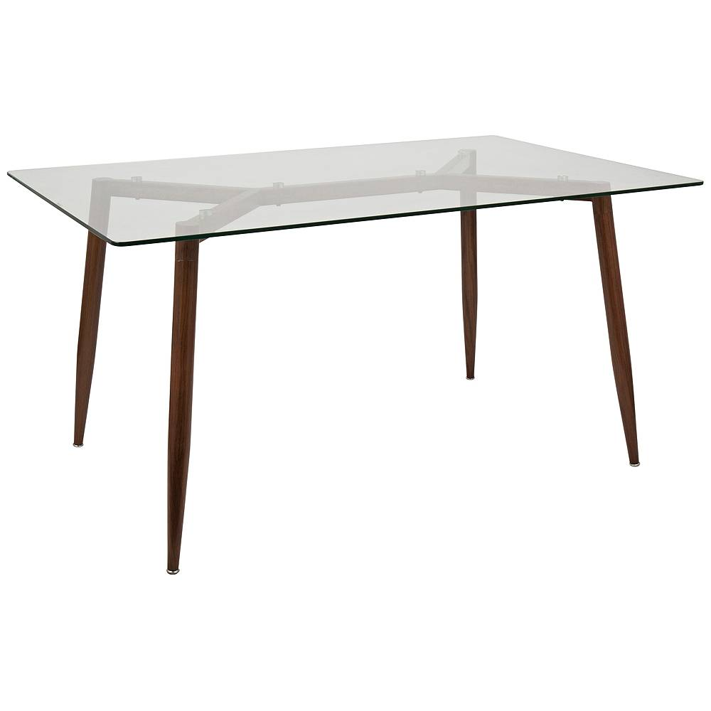 """LumiSource Clara 59""""W Walnut and Clear Glass Rectangular Dining Table - Style # 33J16"""