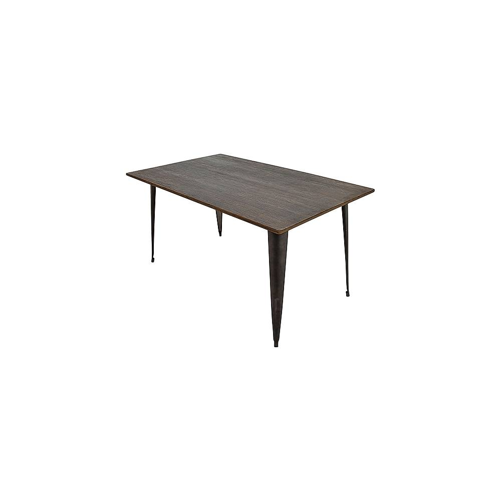 """LumiSource Oregon 36""""W Espresso Bamboo and Antique Metal Dining Table - Style # 33J29"""