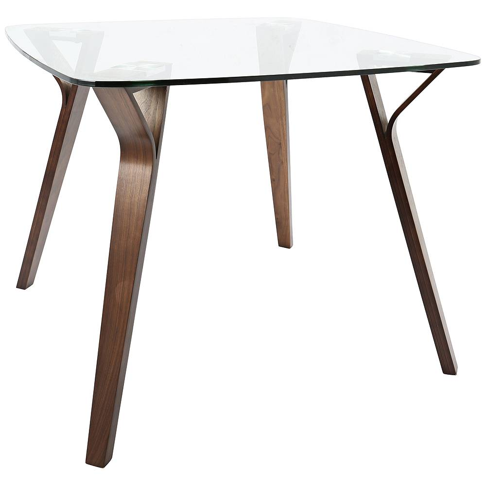 """LumiSource Folia 38 1/2"""" Wide Clear Glass and Walnut Wood Dining Table - Style # 67W81"""