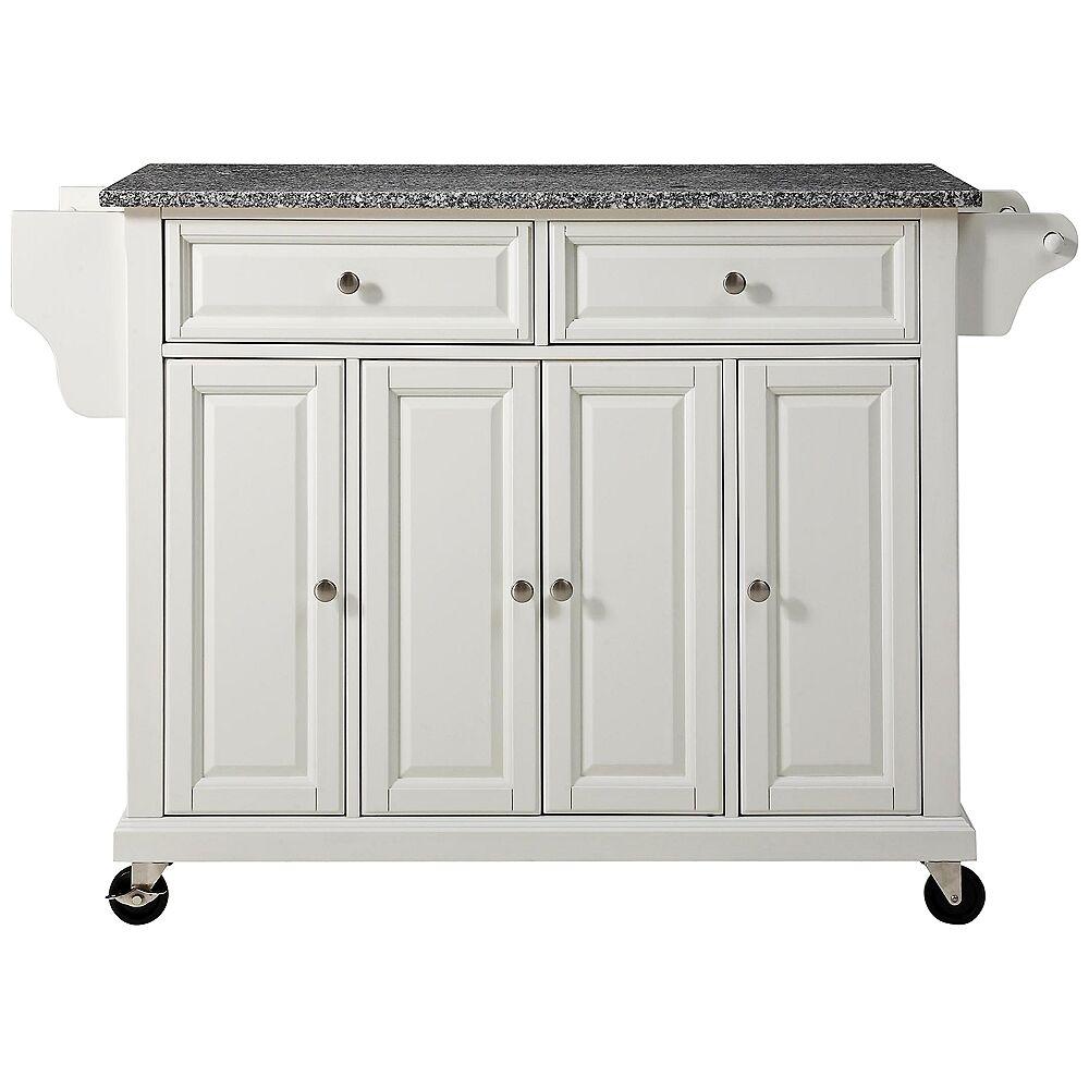 "Crosley Dover 52"" Wide Granite Top White Kitchen Island Cart - Style # 7G983"