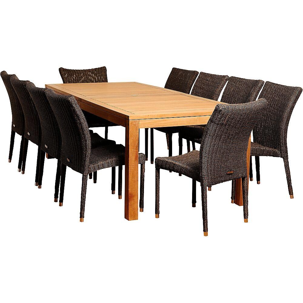 Universal Lighting and Decor Modesto Distressed Wicker 11-Piece Patio Dining Set - Style # 7V233