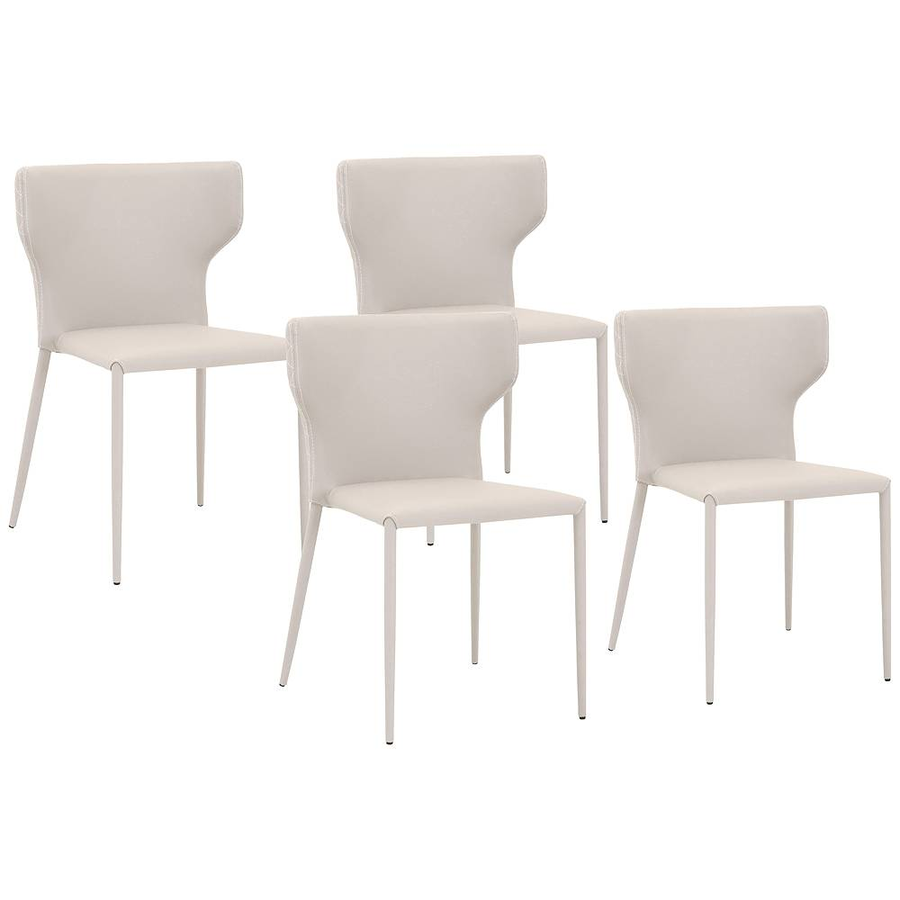 Universal Lighting and Decor Hugo Buff Gray Synthetic Leather Dining Chairs Set of 4 - Style # 86E88
