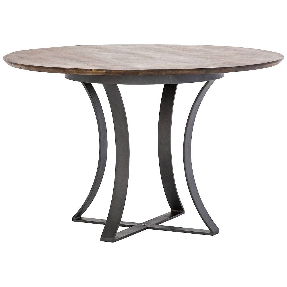"""Universal Lighting and Decor Gage 48"""" Wide Tanner Brown Acacia and Gunmetal Dining Table - Style # 89A47"""