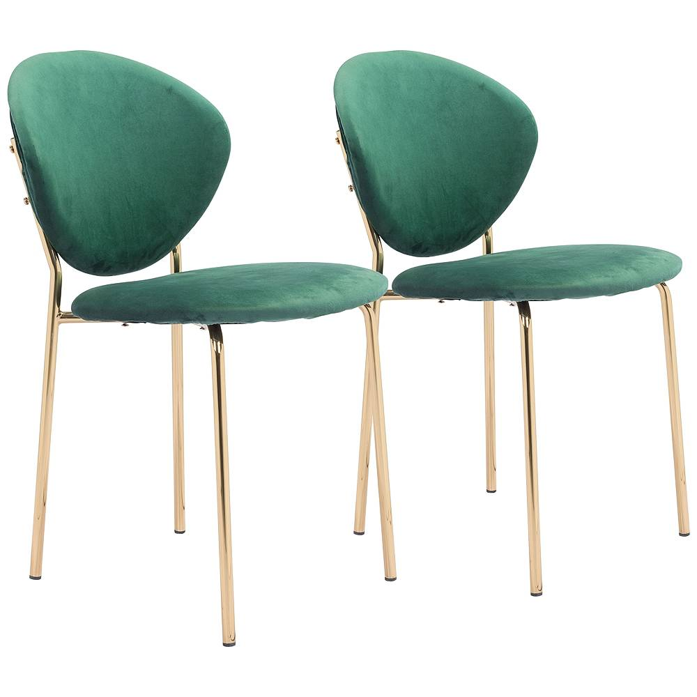 Zuo Clyde Green Velvet Dining Chairs Set of 2 - Style # 95X73