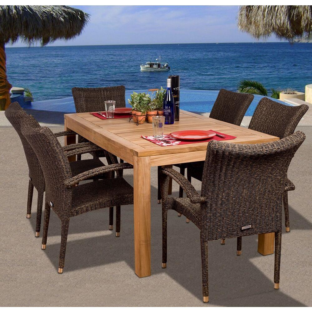 Amazonia Teak 7-Piece Teak/Wicker Kelton Outdoor Dining Set - Style # X6154