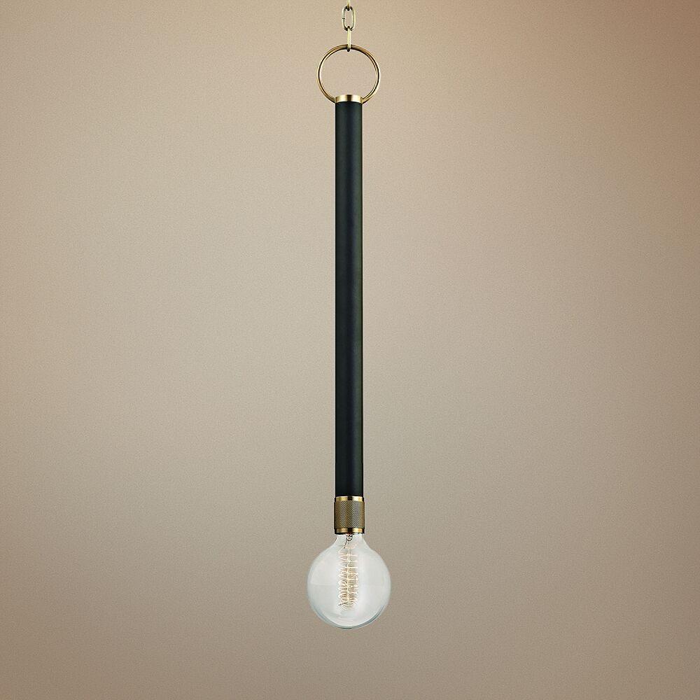 "Hudson Valley Desmond 5""W Aged Brass and Black Mini Pendant - Style # 32H12"