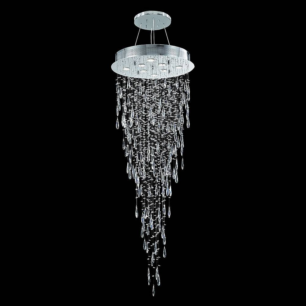 """James Moder Crystal Rain 24"""" Wide Silver and Crystal Dining Chandelier - Style # 66E84"""