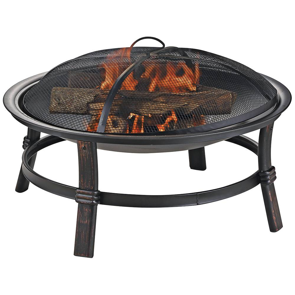 """Endless Summer Brushed Copper 29"""" Wide Wood Burning Outdoor Fire Pit - Style # 85K47"""