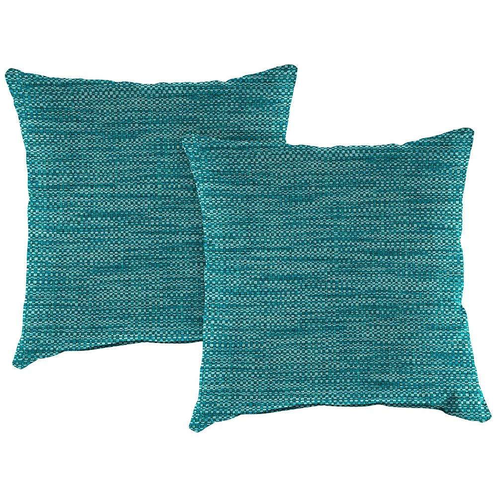 """Jordan Remi Lagoon Text 16"""" Square Indoor-Outdoor Pillow Set of 2 - Style # 1N358"""