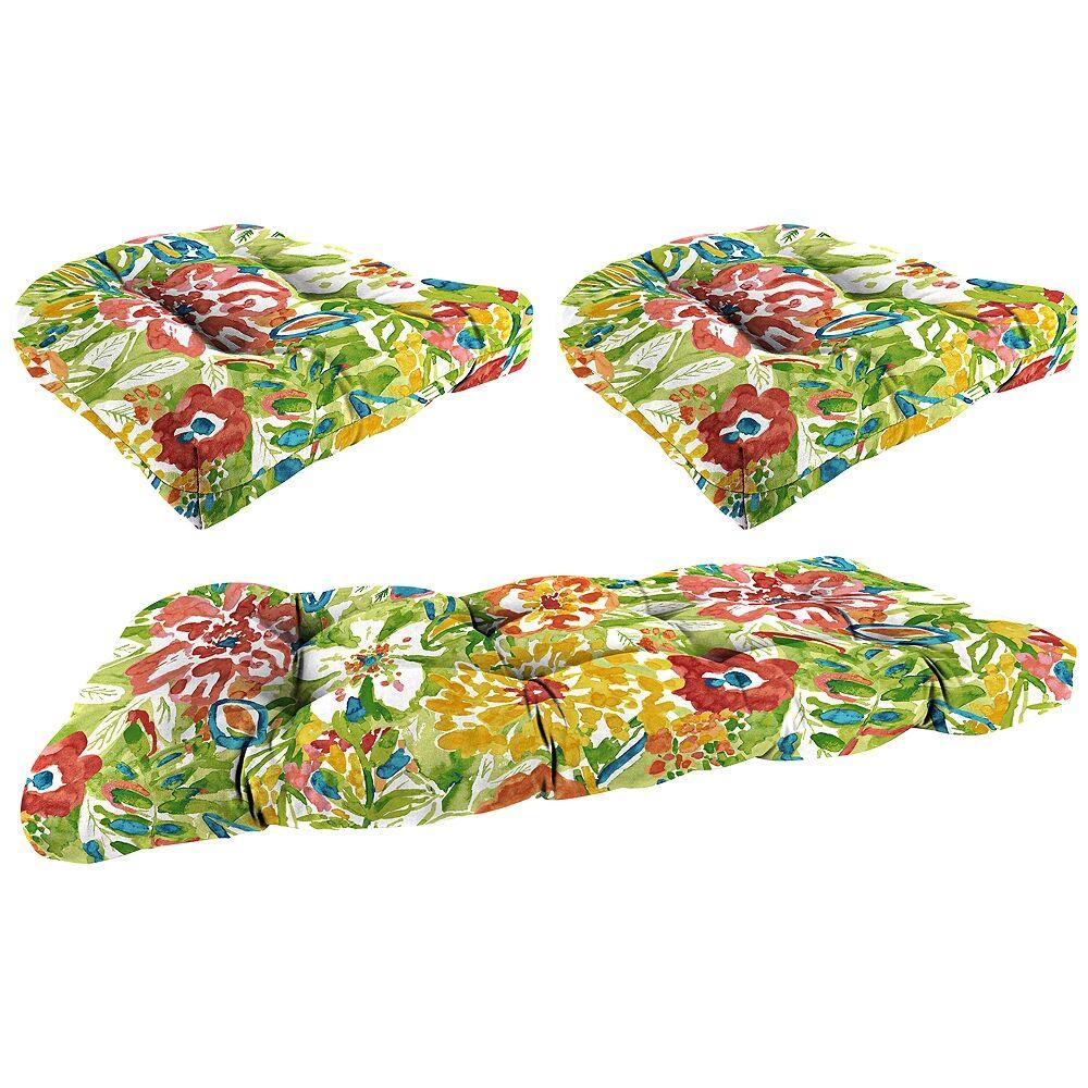 Jordan Sunriver Garden 3-Piece Outdoor Wicker Seat Cushion Set - Style # 38G07