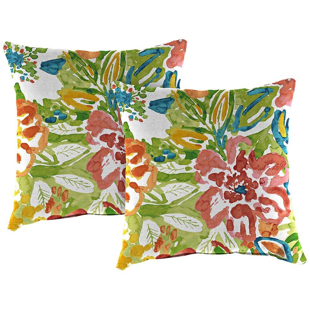 "Jordan Sunriver Garden 18"" Square Outdoor Toss Pillow Set of 2 - Style # 38J39"