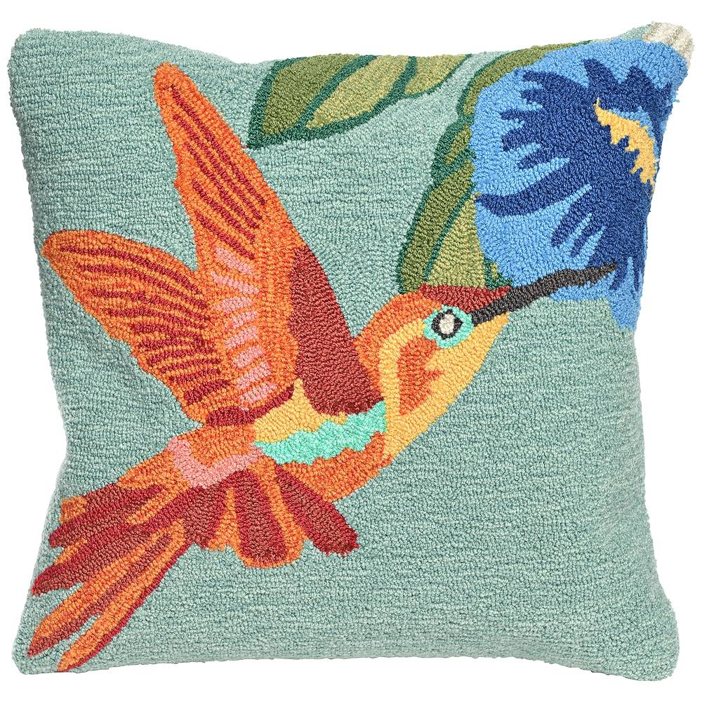 "Trans-Ocean Frontporch Hummingbird Sky 18"" Square Indoor-Outdoor Pillow - Style # 9M245"