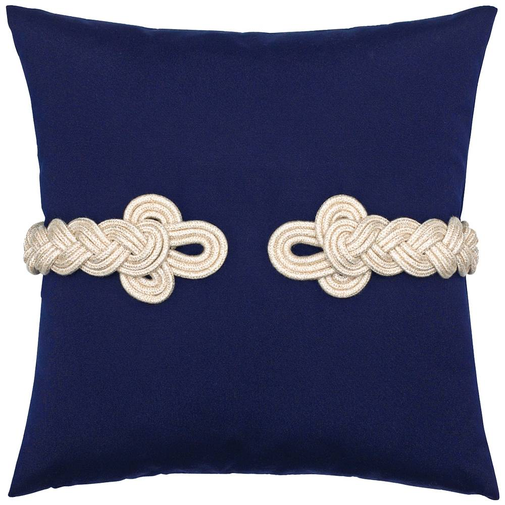 "Sunbrella Navy Frog's Clasp 19"" Square Indoor-Outdoor Pillow - Style # 9X743"