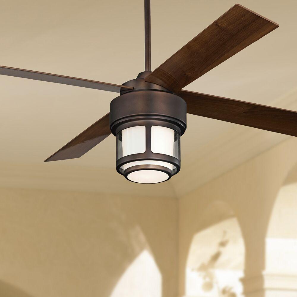 "Casa Vieja 52"" Casa Vieja Tercel Bronze LED Outdoor Ceiling Fan - Style # 58N14"
