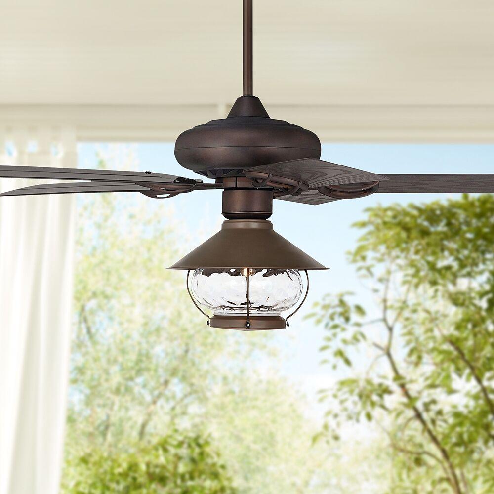 "Casa Vieja 52"" Casa Vieja Orb Bronze  LED Outdoor Ceiling Fan - Style # 71P97"