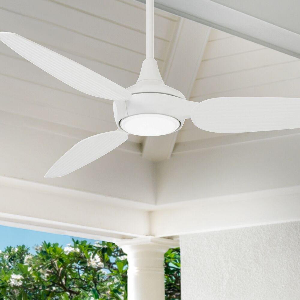 "Minka Aire 60"" Minka Aire Seacrest White LED Outdoor Smart Ceiling Fan - Style # 86F12"