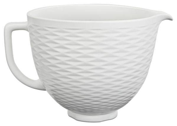 KitchenAid 5 Quart Textured Ceramic Bowl in White Chocolate