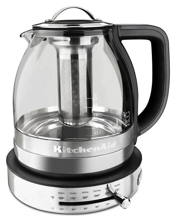 KitchenAid 1.5 L Glass Tea Kettle in Stainless Steel