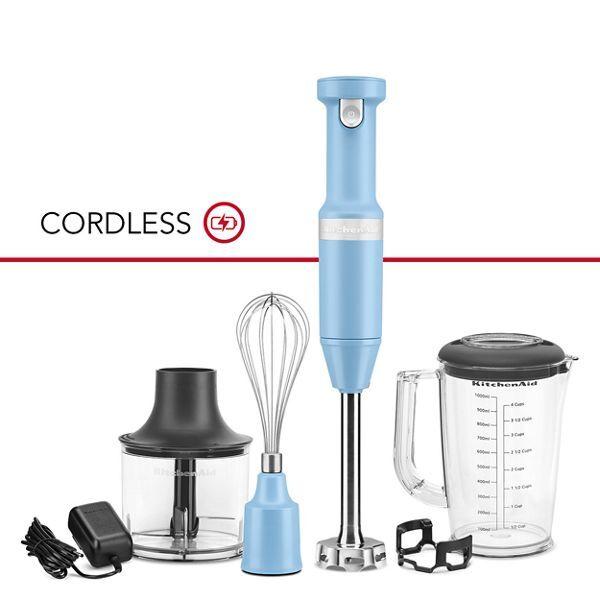 KitchenAid Cordless Variable Speed Hand Blender w/ Chopper & Whisk Attachment in Blue Velvet