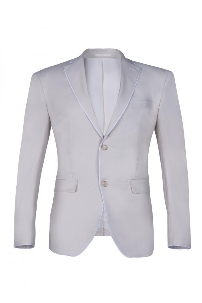Babyonlinewholesale Fashion Peak Lapel Silver Single Breasted Wedding Suit For Men Back Vent