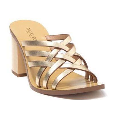 Rachel Zoe Kate Peep Toe Mule - Napp - Light Gold (Size 6.5)