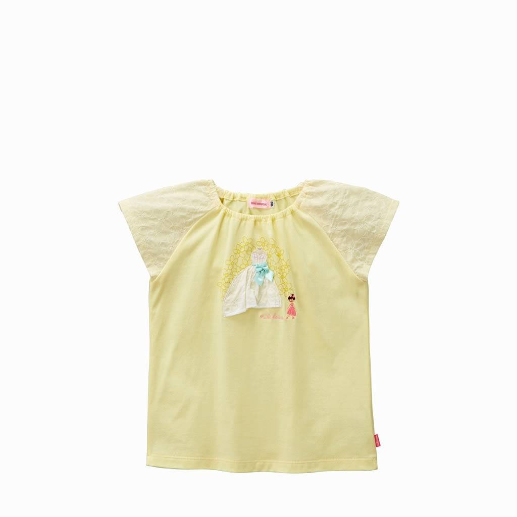 MIKI HOUSE Floral Pastel Yellow Cotton T-Shirt - 125218618-34 (Size 150)