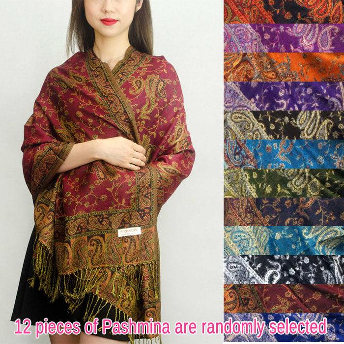 FashionAnything.com Jacquard Paisley Pashmina 1 DZ, Asst. Color