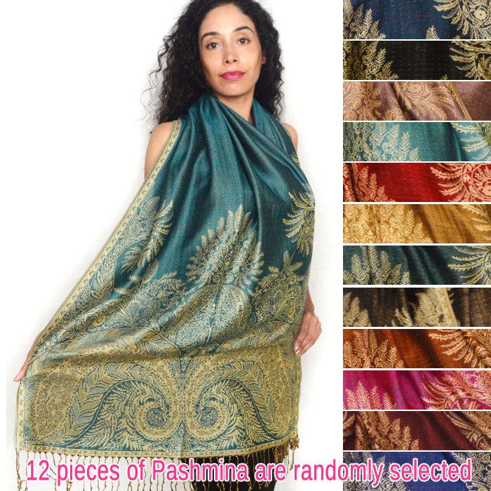 FashionAnything.com Pashmina w/ Big Paisley Thicker 1 DZ, Asst. Color