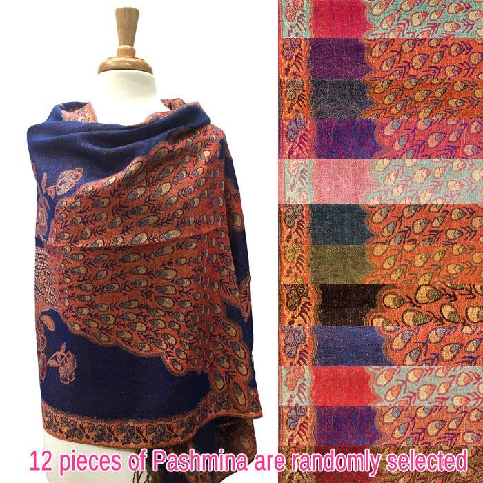 FashionAnything.com Peacock Tail Border Metallic Pashmina 1 DZ, Asst. Color