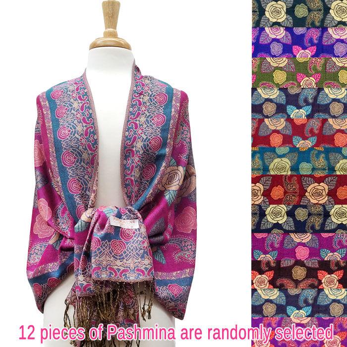 FashionAnything.com Metallic Rose Flower Pashmina 1 DZ, Asst. Color