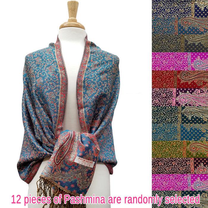 FashionAnything.com Metallic Mini Paisley Floral Pashmina 1 DZ, Asst. Color