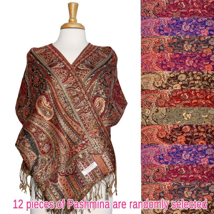 FashionAnything.com Paisley Floral Border Metallic Pashmina 1 DZ, Asst. Color