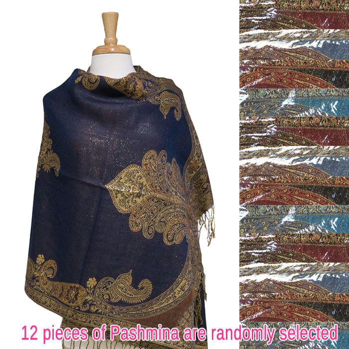 FashionAnything.com Gaint Paisley Metallic Pashmina 1 DZ, Asst. Color