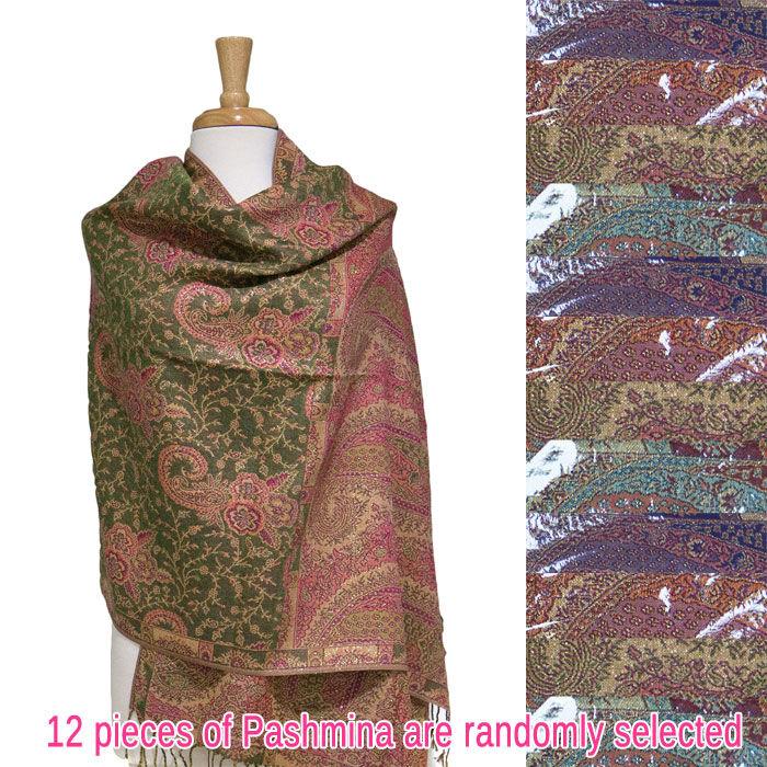 FashionAnything.com Paisley Floral Metallic Pashmina 1 DZ, Asst. Color