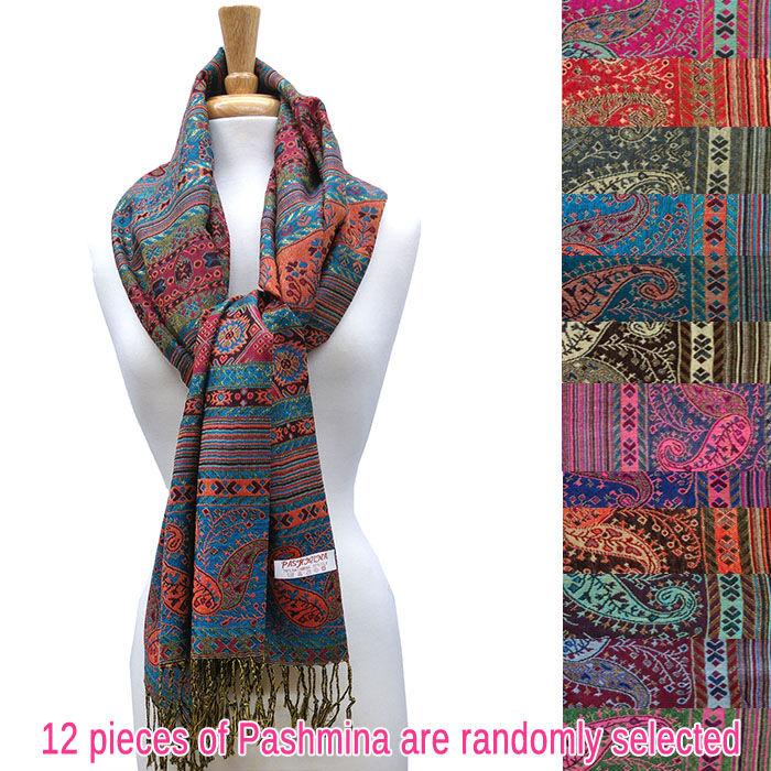 FashionAnything.com Metallic Paisley Geometric Pashmina 1 DZ, Asst. Color