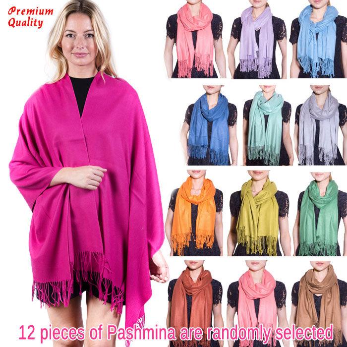 FashionAnything.com Premium Thick Pashmina 1 DZ, Asst. Color