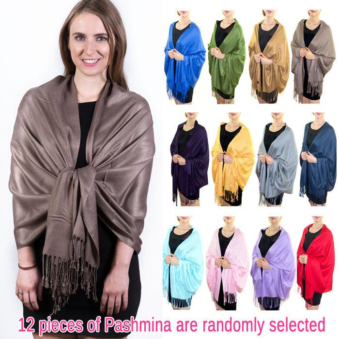 FashionAnything.com Solid Pashmina Scarf Silky Soft 1 DZ, Asst. Color