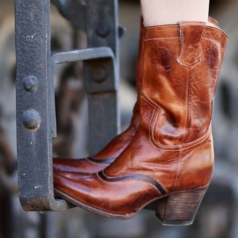 ShoesSee Inc European And American Retro Point Toe Outdoor  High Heels Boots